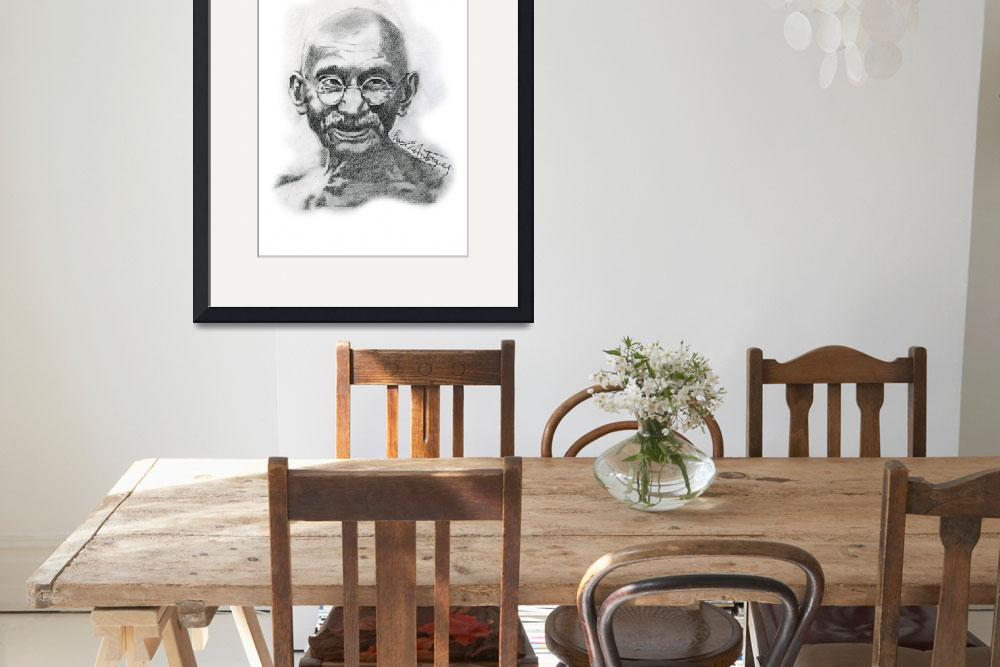 """Hand Drawn Portrait of Mahatma Gandhi&quot  by CreativeArtisticNuance"