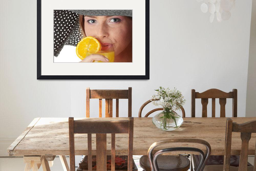 """""""Photo of beautiful woman holding a orange cocktail&quot  (2010) by Piotr_Marcinski"""