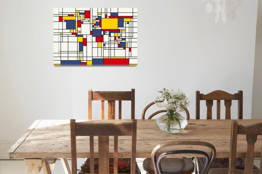 """World Map Abstract Mondrian Style&quot  (2011) by ModernArtPrints"