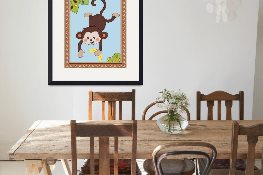 """""""Curly Tails - Jumping Monkey Nursery Art&quot  (2014) by Littlepig"""