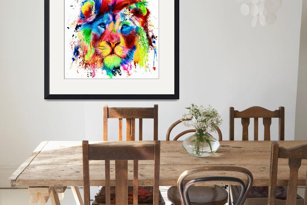 """""""Neon Lion Acrylic Ink Spatter Painting&quot  (2018) by MightyFineArt"""