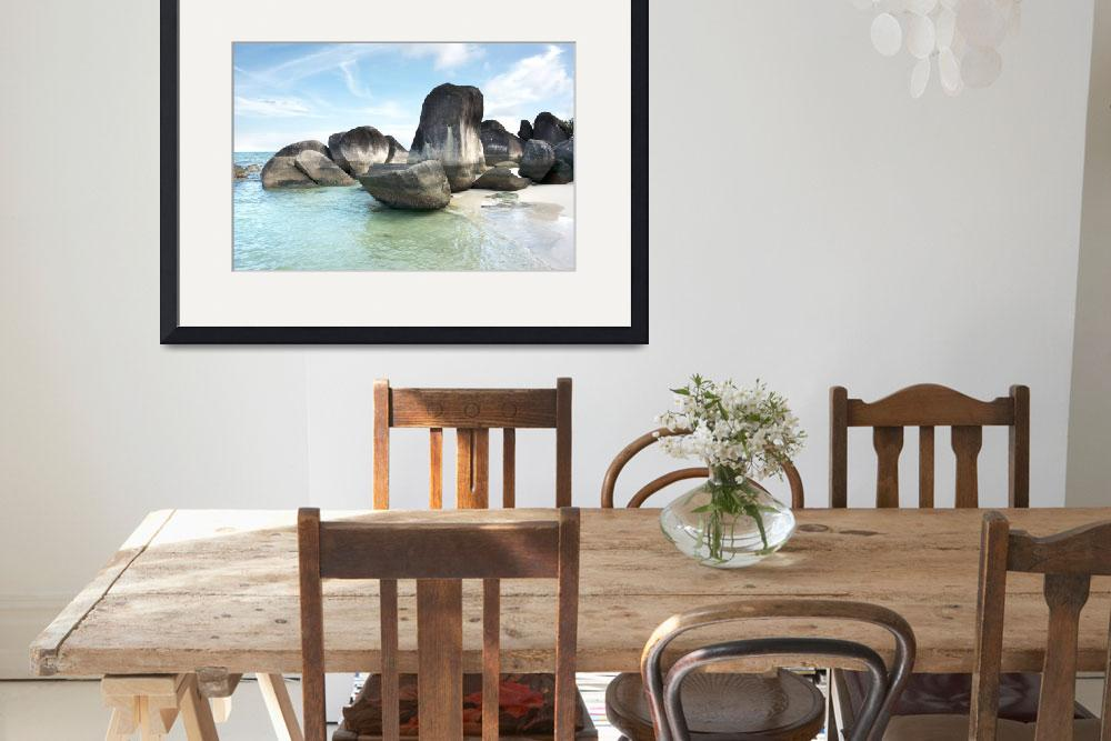 """""""Rock formation in sea and on white sand beach.&quot  by TodiArtz"""