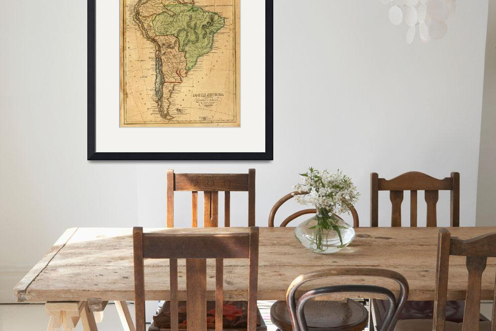 """""""Vintage Map of South America (1821)""""  by Alleycatshirts"""