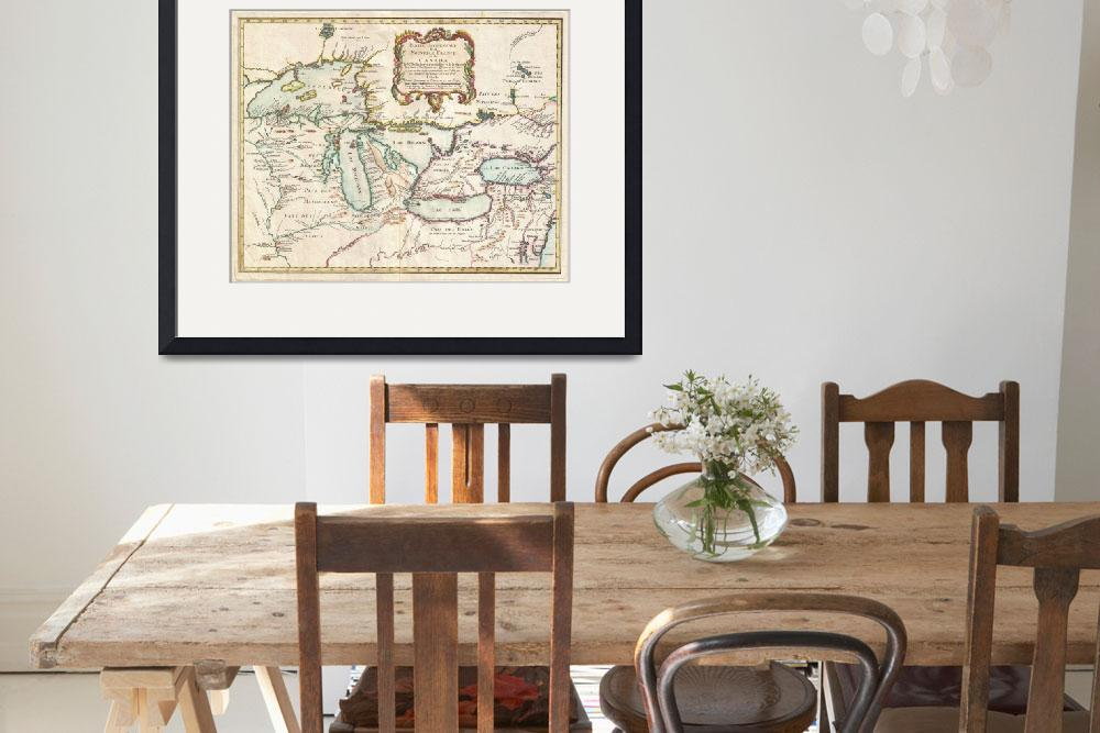 """Vintage Map of The Great Lakes (1755)&quot  by Alleycatshirts"