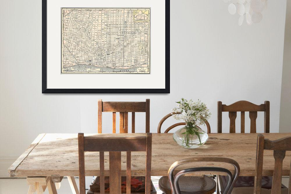 """Vintage Map of Detroit (1895)&quot  by Alleycatshirts"