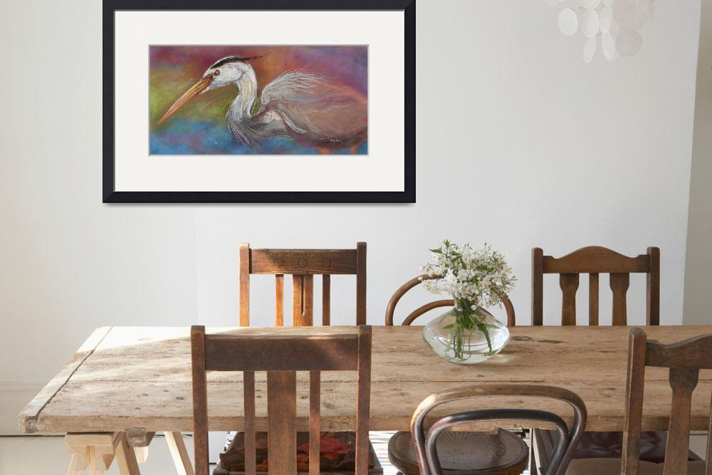 """""""Pink Sunset Blue Heron""""  (2015) by 2dogstudio"""