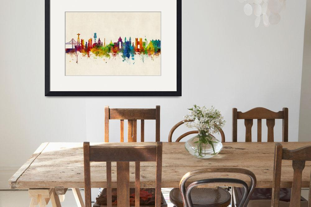 """Lisbon Portugal Skyline&quot  (2017) by ModernArtPrints"