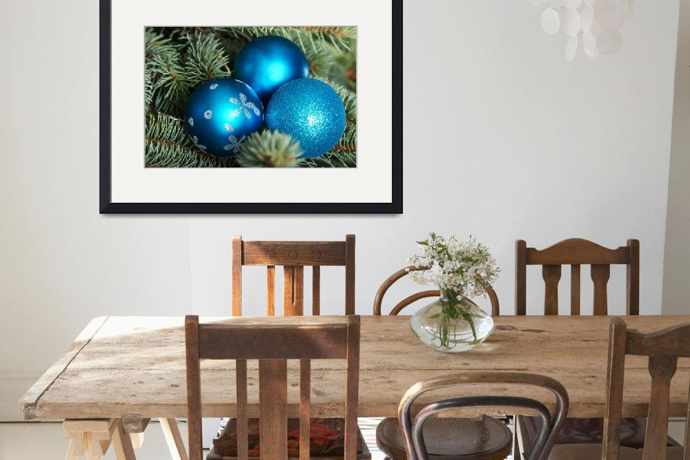 """Christmas balls handing on a green tree.&quot  by Piotr_Marcinski"
