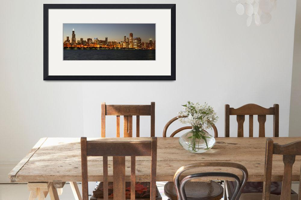 """""""Chicago skyline at sunset&quot  (2014) by mpaskvan"""