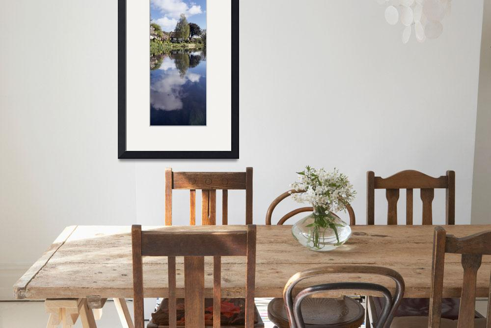 """""""Reflection of a cottage in a river Bickleigh Rive&quot  by Panoramic_Images"""