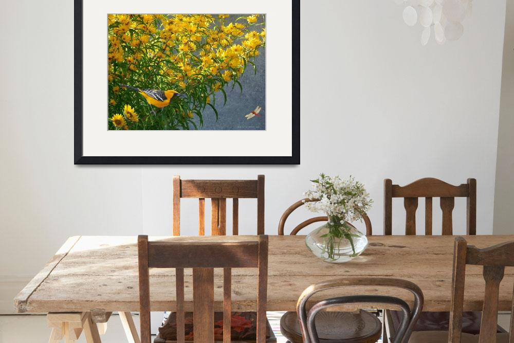 """""""yellow flowers hooded oriole&quot  (2013) by rchristophervest"""