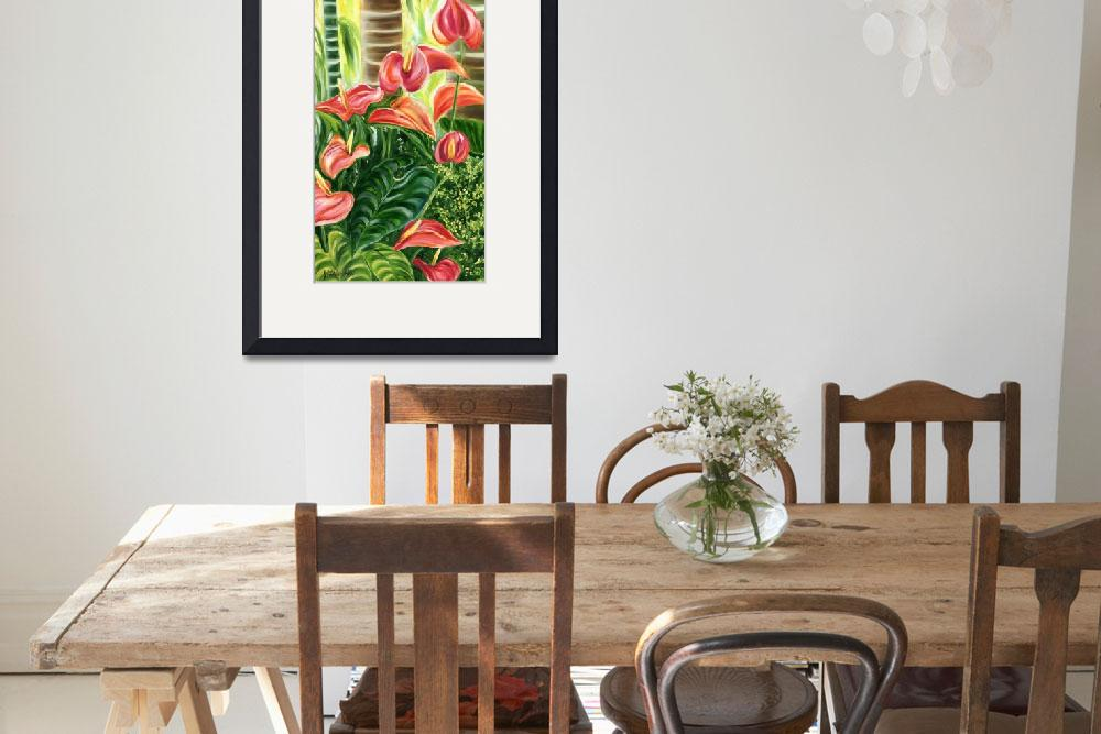 """Tropical Coral Anthurium Flowers by Jenny Floravit&quot  by JennyFloravita"