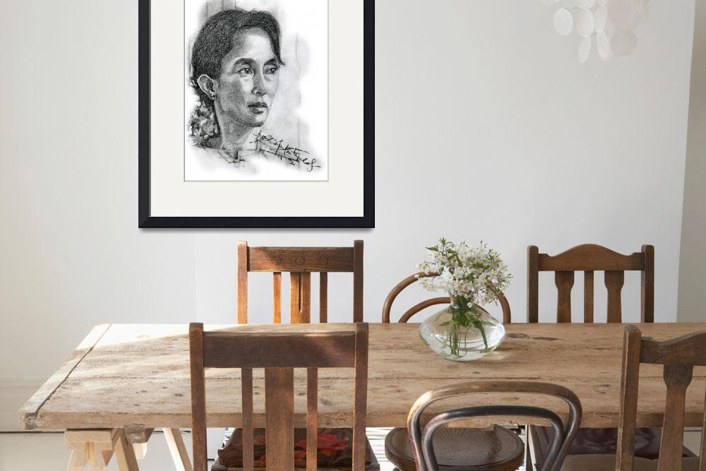 """""""Hand Drawn Portrait of Aung San Suu Kyi&quot  by CreativeArtisticNuance"""