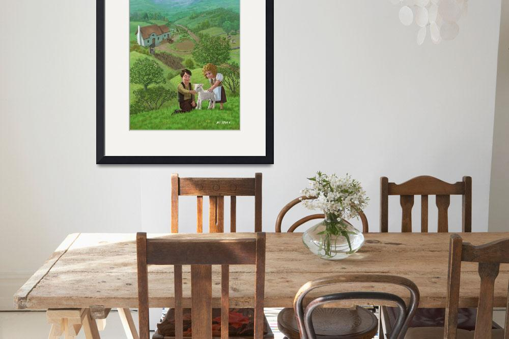 """""""children with lamb in country landscape&quot  (2011) by martindavey"""