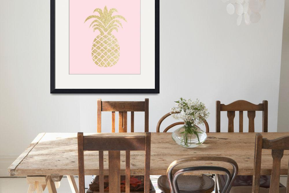 """""""Gold Pineapple Pink Background""""  by miscellaneastudios"""