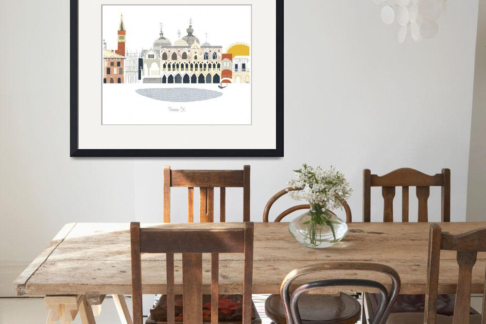 """Venice Modern Cityscape Illustration&quot  by AlbieDesigns"