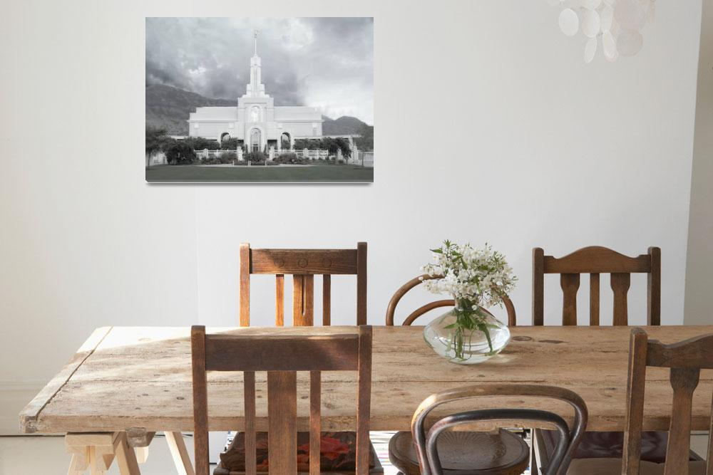 """Timpanogos Temple - Summer Large-16x22-tinted&quot  by TerrySpringer"