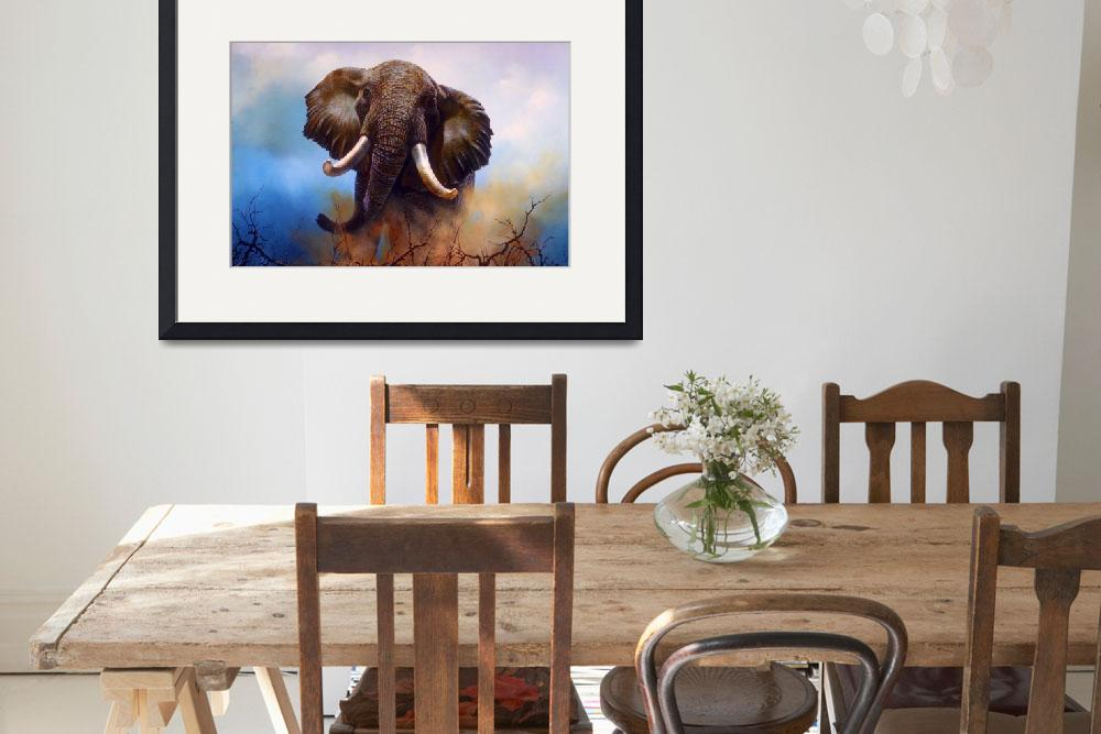 """""""Big Elephant with Large Tusks""""  by ArtLoversOnline"""