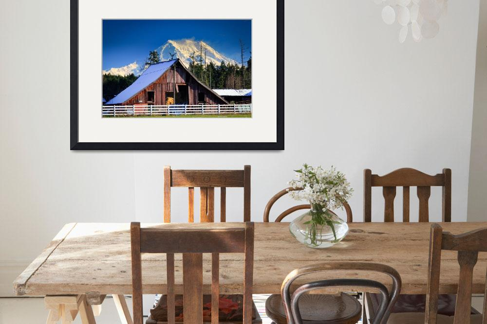 """Mount Rainier and barn""  (2010) by Inge-Johnsson"