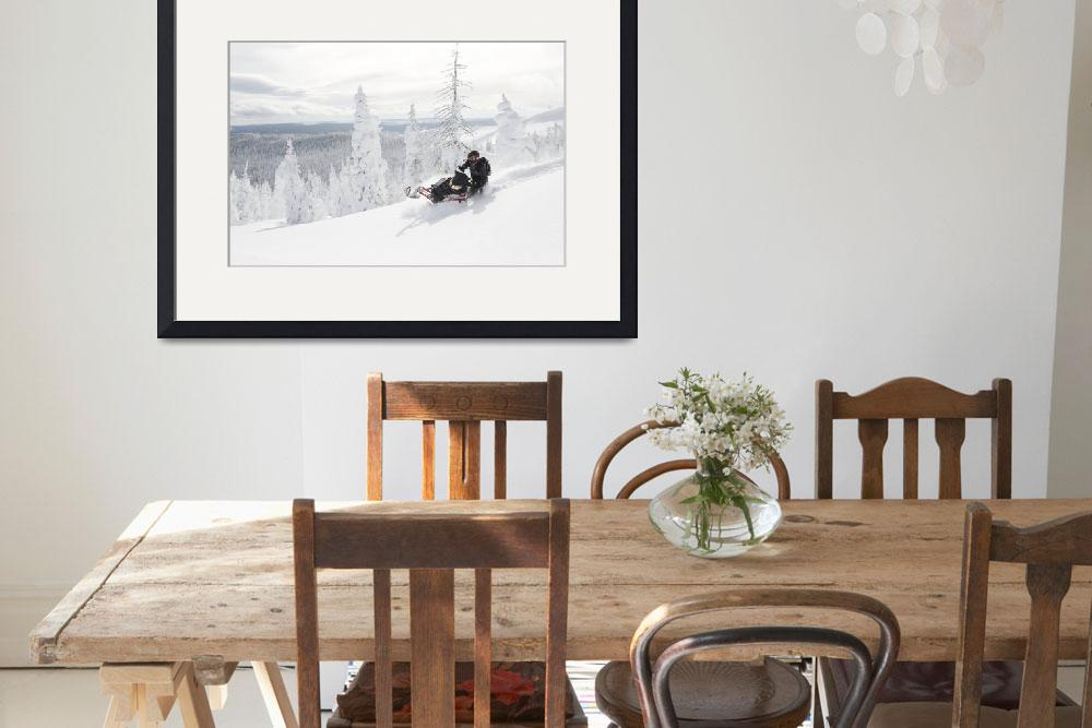 """""""Snowmobile Carving Virgin Powder&quot  by KalmbachPublishing"""