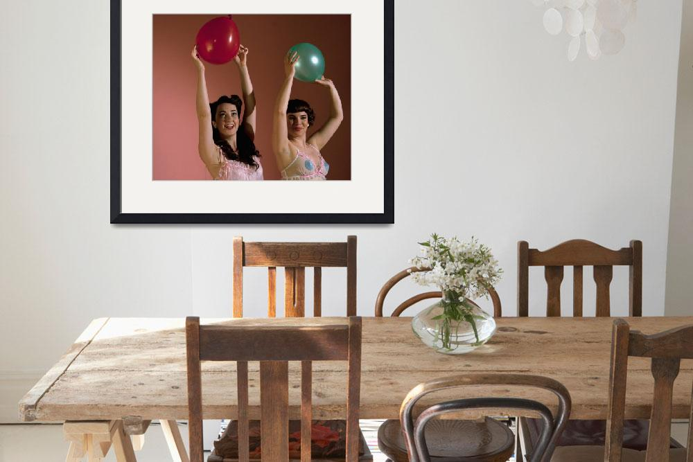 """""""two-pin-ups-holding-ballons&quot  (2010) by paul105"""