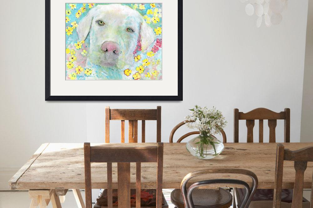 """Maisie White Labrador Retriever Flower Dog&quot  (2018) by RDRiccoboni"