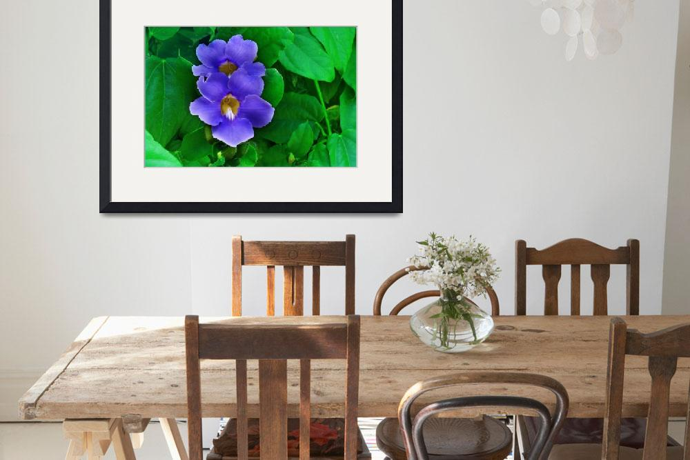 """""""Blue Flowers on Green Leaf Background&quot  (2012) by charker"""