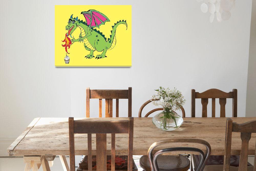 """Birthday Dragon Cartoon&quot  (2019) by anukate"