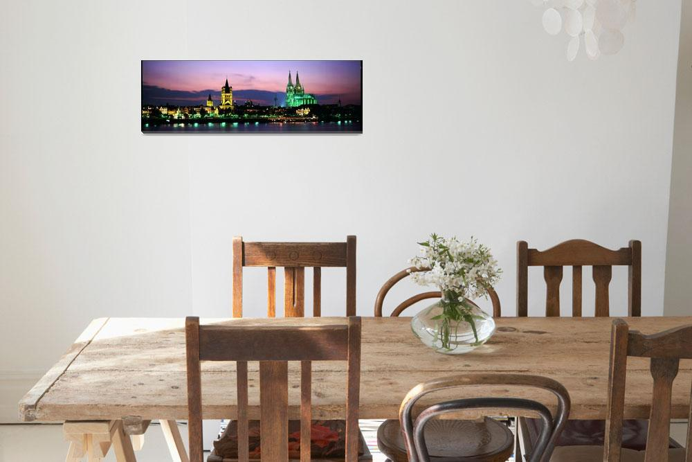 """""""Skyline w/Cologne Cathedral Rhein River Cologne G""""  by Panoramic_Images"""