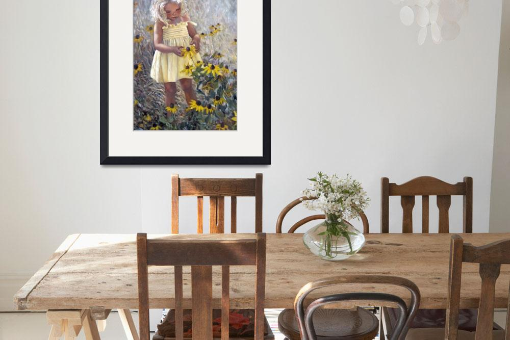 """""""Yellow Dress and Coneflowers&quot  (1996) by mariewitte"""