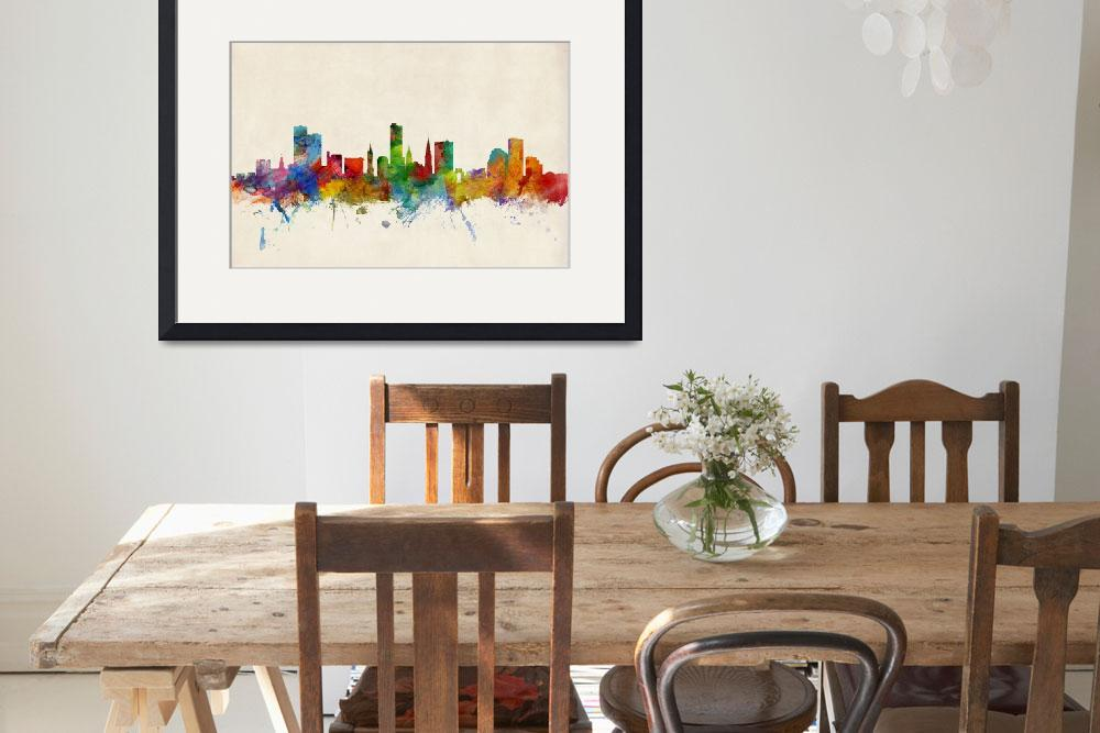 """Leicester England Skyline""  by ModernArtPrints"