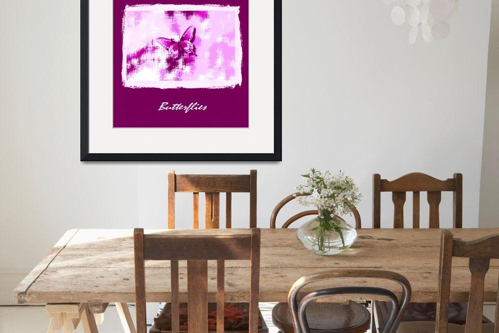 """""""Violet Butterfly On Violet White Abstract with Fra&quot  (2013) by TheNorthernTerritory"""