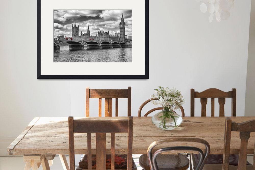 """""""London - Houses Of Parliament And Red Buses&quot  (2013) by MelanieViola"""