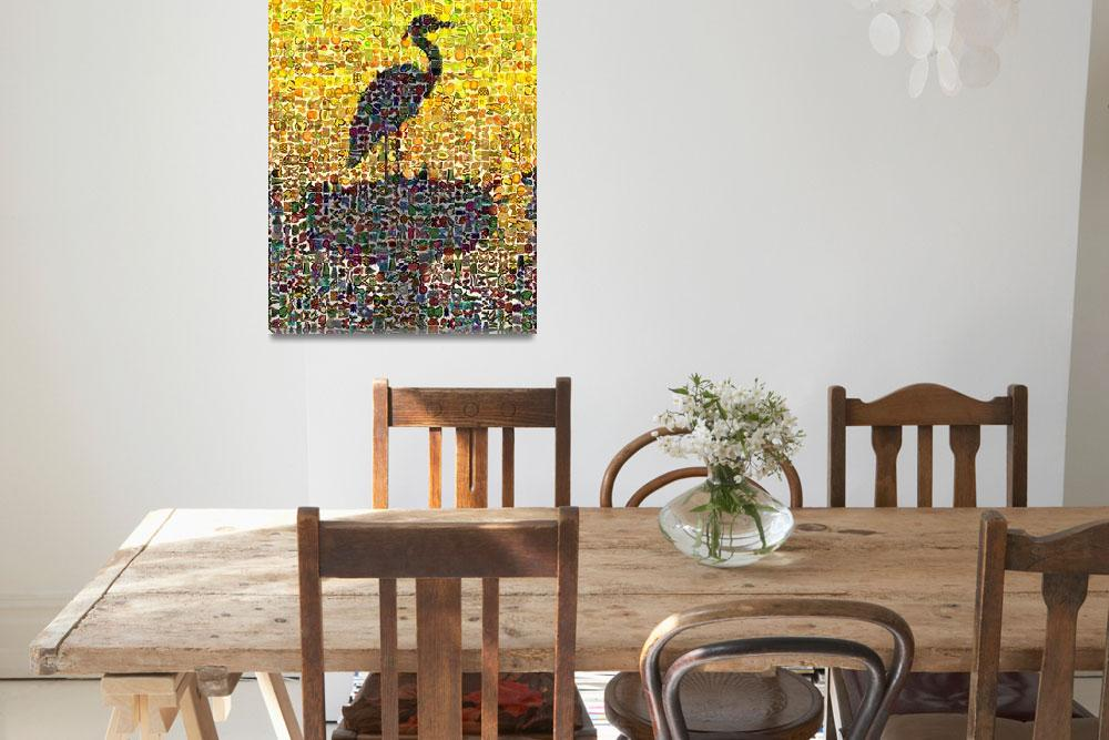 """Sunset Heron&quot  (2014) by DigitalMosaics"
