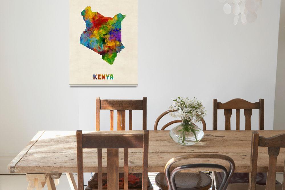 """Kenya Watercolor Map""  (2017) by ModernArtPrints"