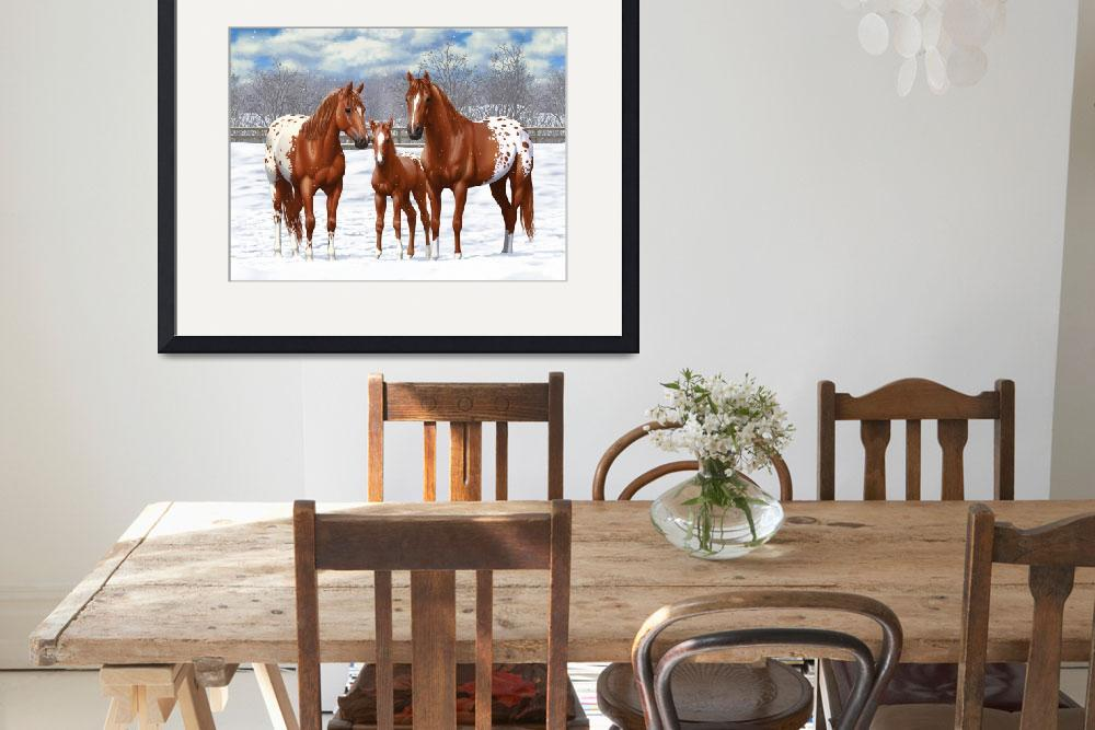 """Chestnut Appaloosa Horses In Snow&quot  (2017) by csforest"