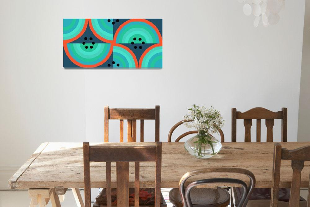 """Circles black turquoise coral single""  (2008) by LeslieTillmann"