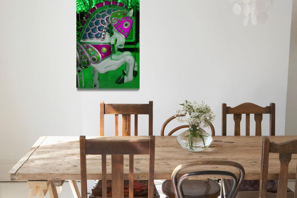 """""""Neon Green Carousel Horse&quot  (2012) by psovart"""