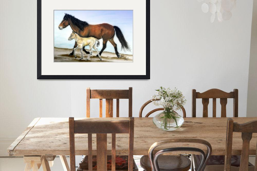 """""""Icelandic mare and foal&quot  (2007) by inkandbrushcreations"""