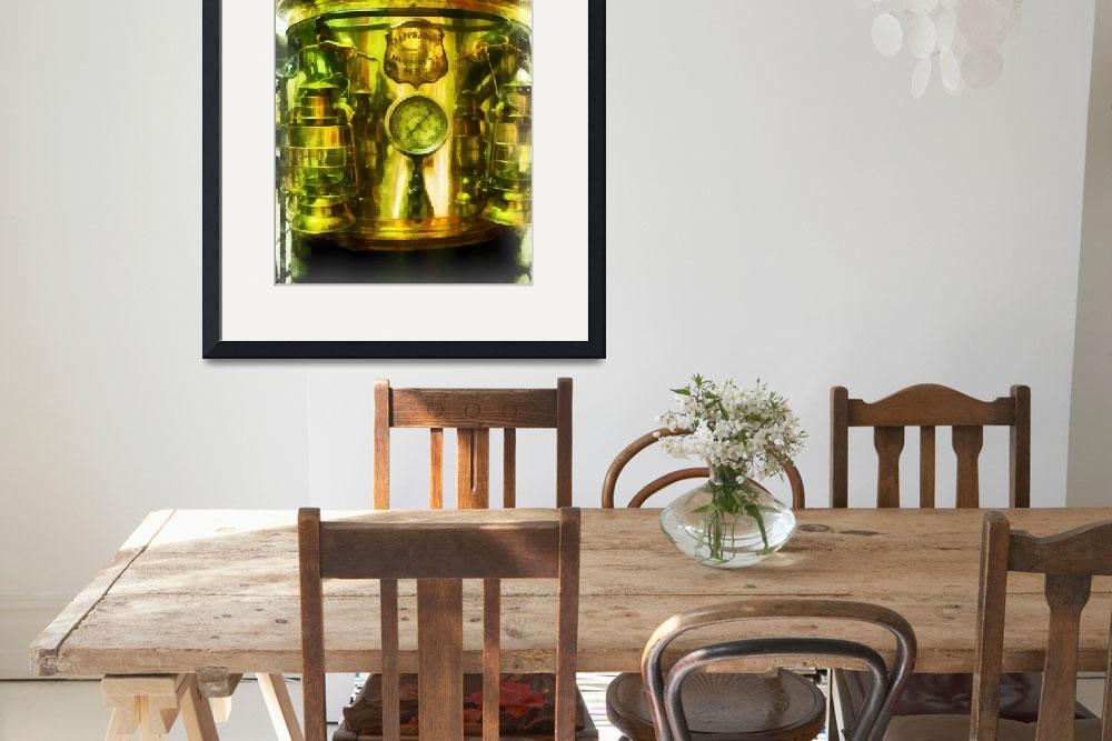 """""""Gauge And Two Brass Lanterns On Fire T&quot  by susansartgallery"""