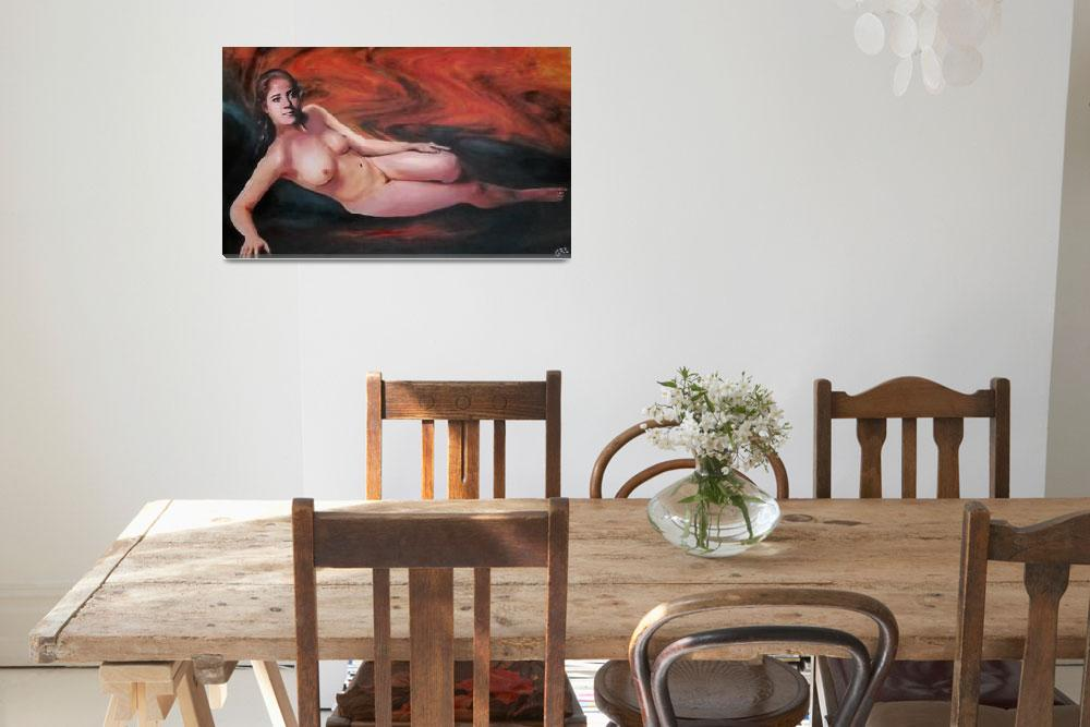 """FEMALE NUDE RECLINING BACKGROUND SWIRLS OF ORANGE&quot  by grl"