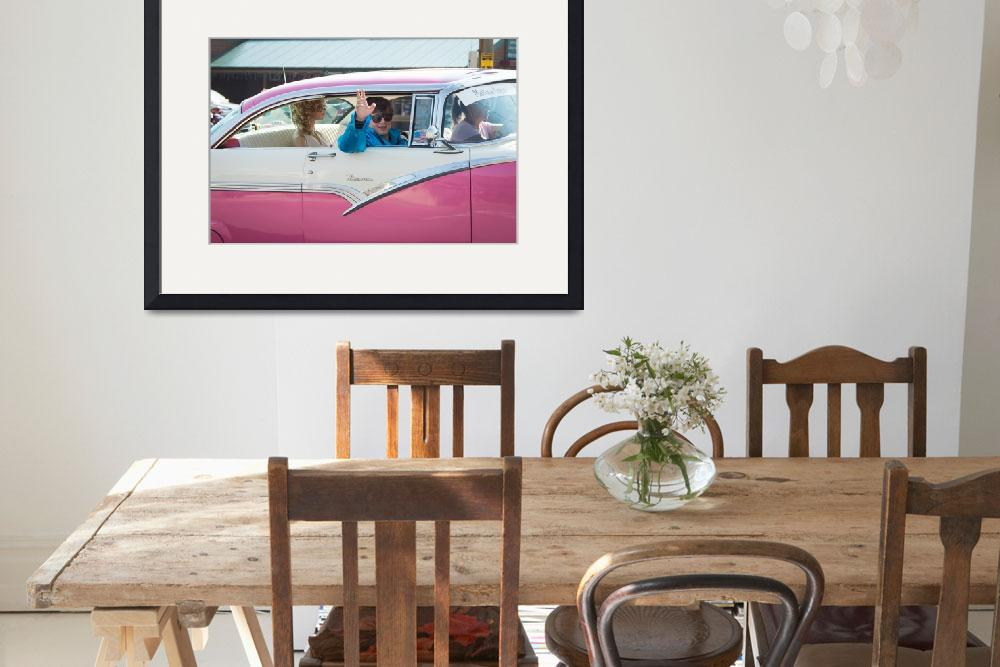 """""""1955 Pink Crown Victoria with Elvis Impersonator&quot  (2013) by mgm"""