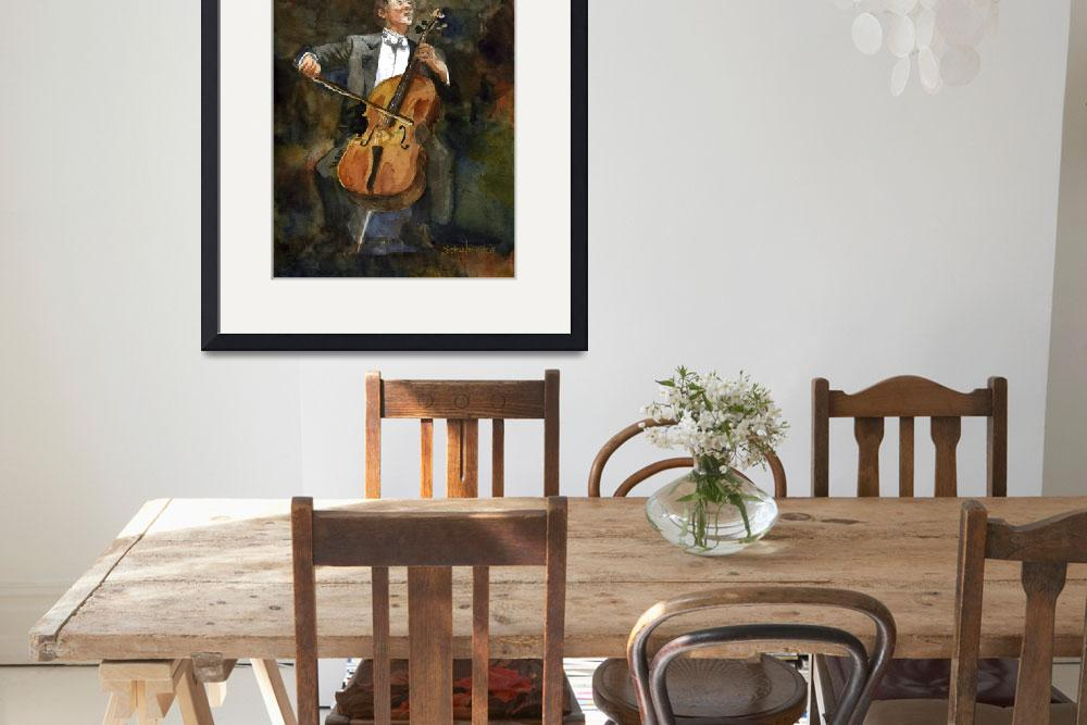 """The Joy of Cello, Yo Yo Ma Portrait Watercolor&quot  (2010) by schulmanart"
