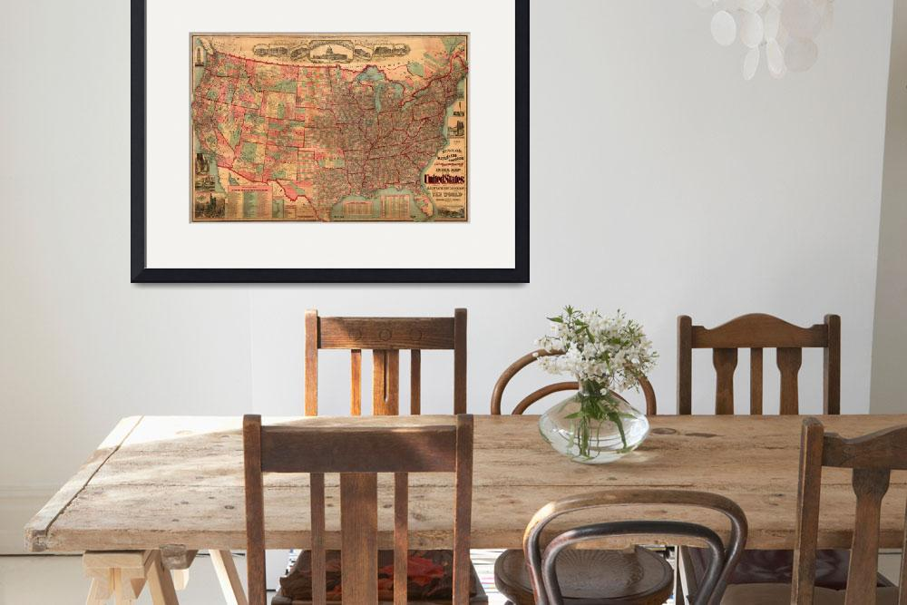 """Vintage United States Map (1883)&quot  by Alleycatshirts"