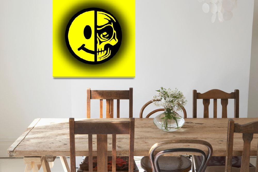 """Smiley Face Skull Yellow Shadow""  (2015) by RubinoFineArt"