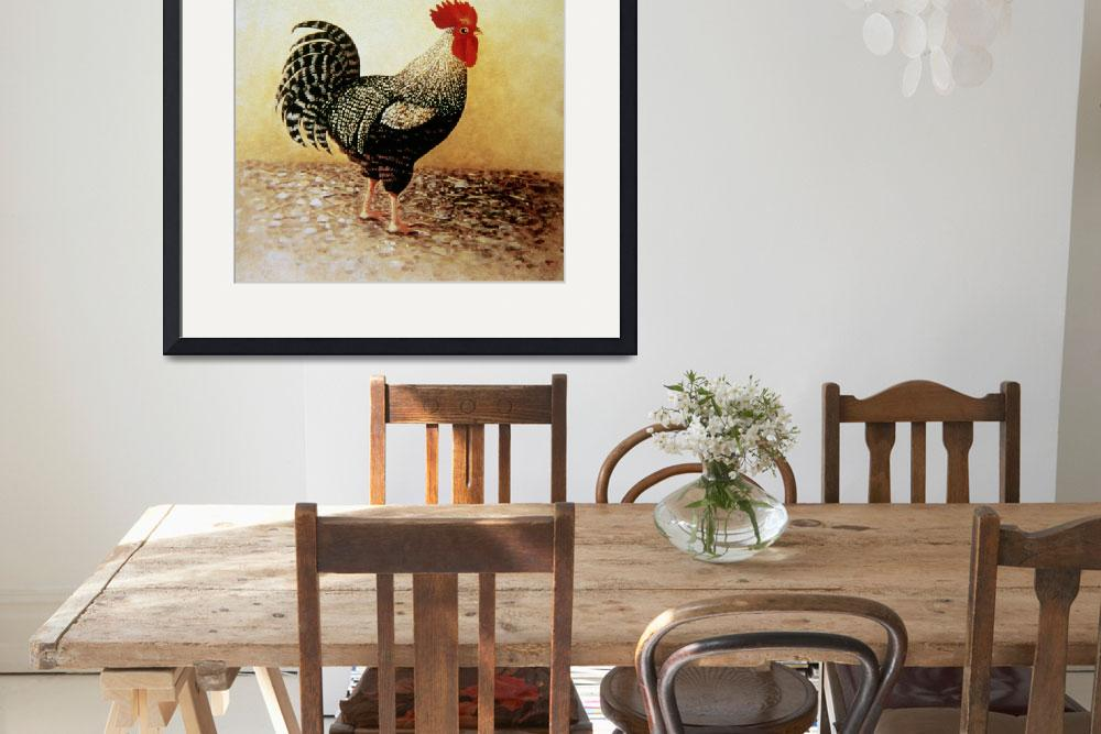 """""""Speckled Rooster (acrylic on canvas)""""  by fineartmasters"""