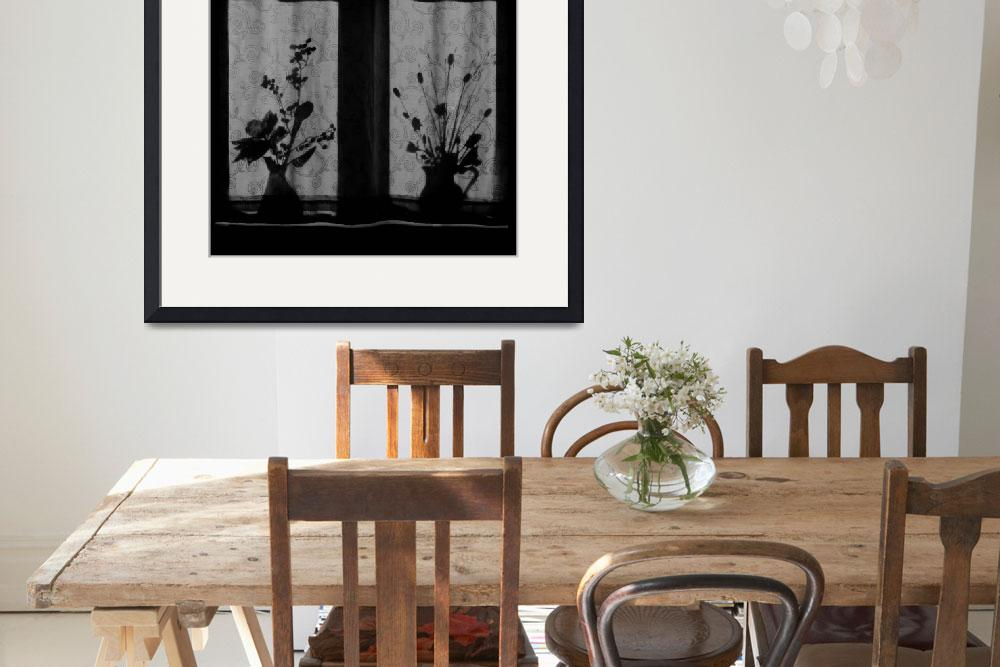 """""""Window Shadow on Curtain, Floral Still Life&quot  by Aldo"""