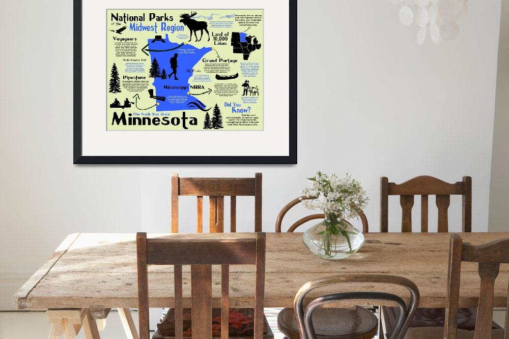 """""""Minnesota National Parks Infographic Map&quot  by Alleycatshirts"""