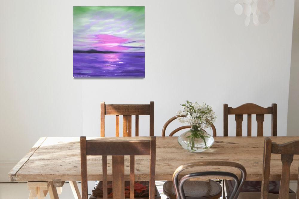 """Green Skies and Purple Seas Abstract Sunset""  (2009) by GinaDeGorna"