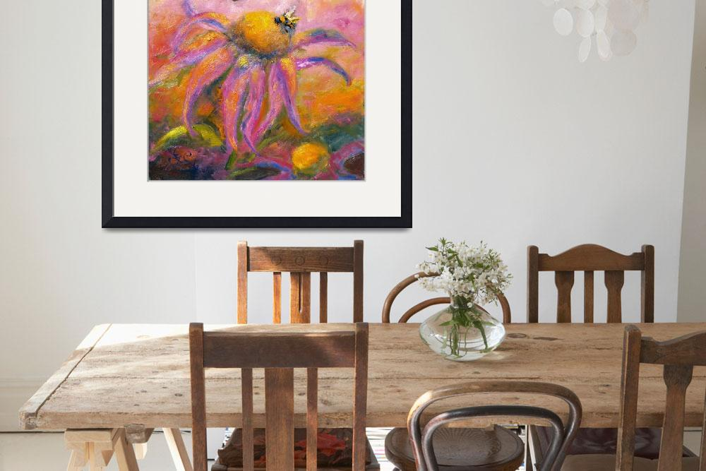 """""""Coneflower Blossom & Bees Oil Painting by Ginette""""  (2006) by GinetteCallaway"""